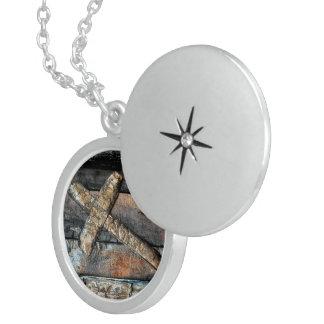 Cross of Strength Round Locket Necklace