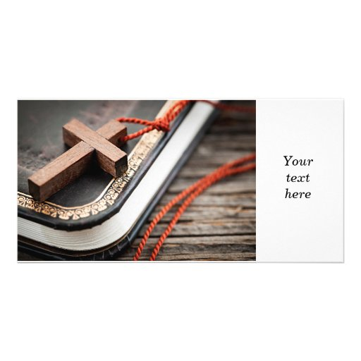 Cross on Bible Picture Card