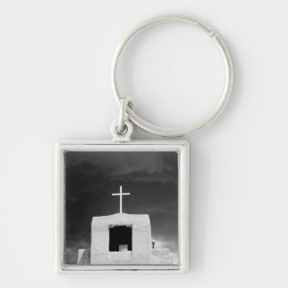 Cross on oldest church, San Miguel, Santa Fe, Silver-Colored Square Key Ring
