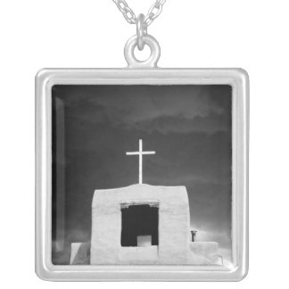 Cross on oldest church, San Miguel, Santa Fe, Silver Plated Necklace