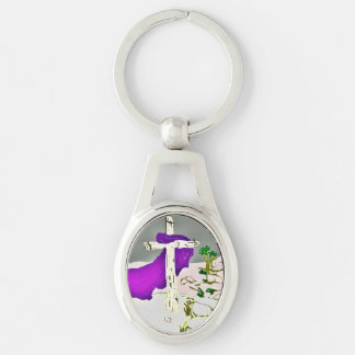 Cross On The Hill-II Silver-Colored Oval Metal Keychain