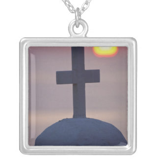 Cross on top of church at sunset, Mykonos, Silver Plated Necklace