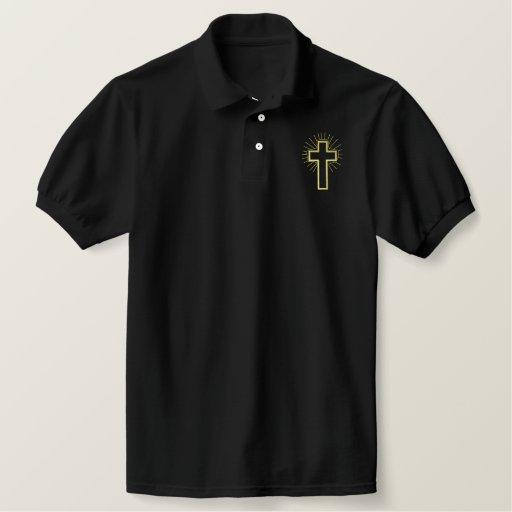 Cross Outline Embroidered Polo Shirt