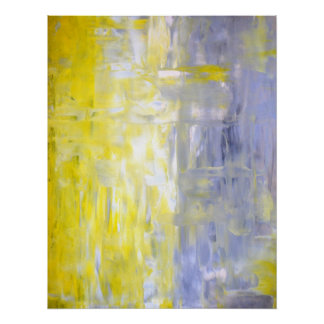 'Cross Over' Grey and Yellow Abstract Art Poster