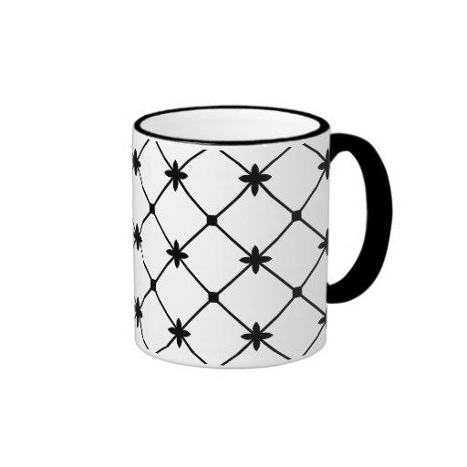 Cross Pattern Black and White Mugs