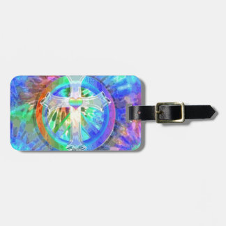 Cross, Peace Sign Luggage Tag