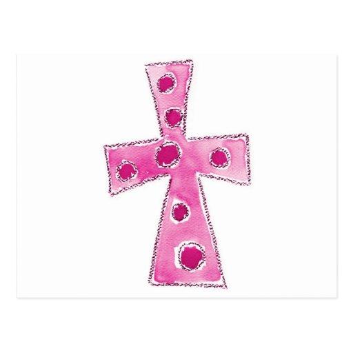 Cross Pink Polka Dots Postcards