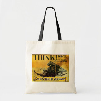 Cross Railroad Crossings Cautiously Tote Bags
