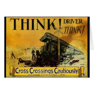 Cross Railroad Crossings Cautiously Greeting Card
