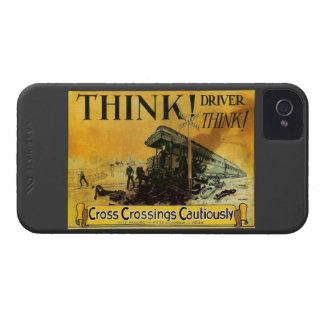 Cross Railroad Crossings Cautiously iPhone 4 Case-Mate Cases