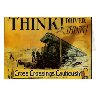 Cross Railroad Crossings Cautiously Note Card