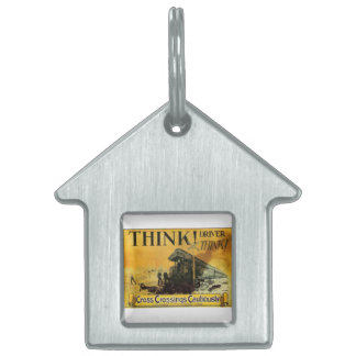 Cross Railroad Crossings Cautiously Pet ID Tag