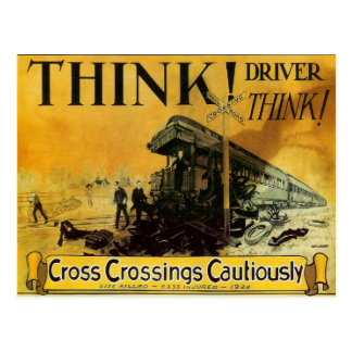 Cross Railroad Crossings Cautiously Postcard