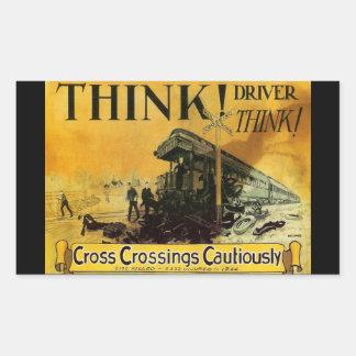 Cross Railroad Crossings Cautiously Rectangular Sticker