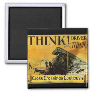 Cross Railroad Crossings Cautiously Square Magnet