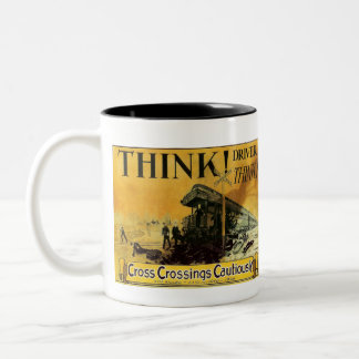Cross Railroad Crossings Cautiously Two-Tone Mug