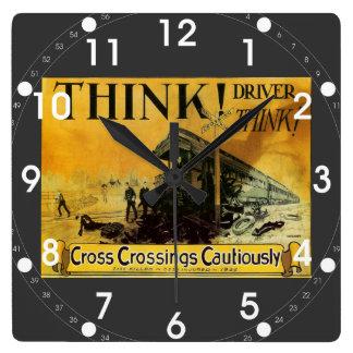 Cross Railroad Crossings Cautiously  Wall Clock