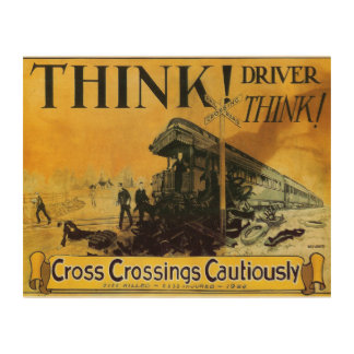 Cross Railroad Crossings Cautiously Wood Canvas