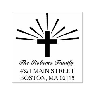 Cross & Rays - Name & Address Self-inking Stamp