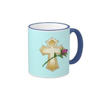 Cross Rose Mom Coffee Mugs