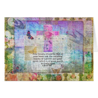 Cross, Scripture Art, Bible Verse Art Faith Based Greeting Card