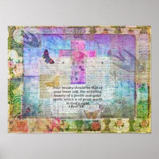 Cross, Scripture Art, Bible Verse Art Faith Based Poster