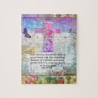 Cross, Scripture Art, Bible Verse Art Faith Based Puzzle