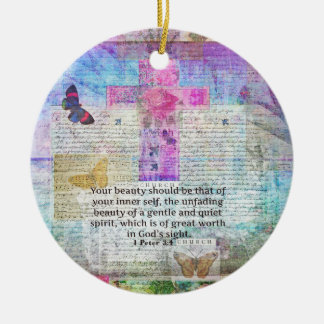 Cross, Scripture Art, Bible Verse Art Faith Based Round Ceramic Decoration