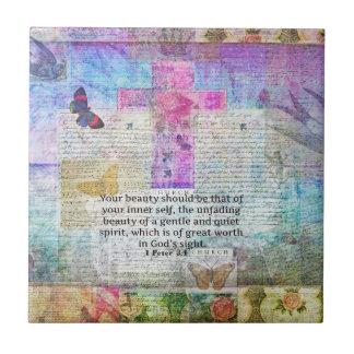Cross, Scripture Art, Bible Verse Art Faith Based Small Square Tile