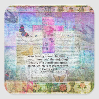 Cross, Scripture Art, Bible Verse Art Faith Based Square Sticker