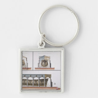 Cross-section and elevation of a ship, 1776 Silver-Colored square key ring