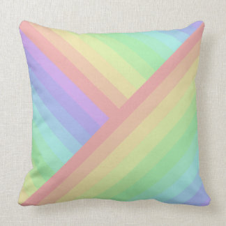 Cross-Section and Straight Rainbow Pastel Streaks Cushion