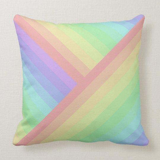 Cross-Section and Straight Rainbow Pastel Streaks Cushion