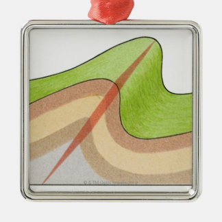 Cross-section illustration of a fold in the rock christmas ornament