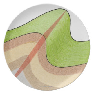 Cross-section illustration of a fold in the rock party plates