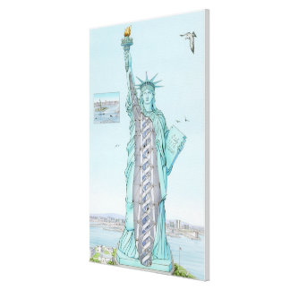 Cross section illustration of Statue of Liberty Canvas Print