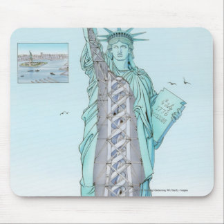 Cross section illustration of Statue of Liberty Mouse Mat