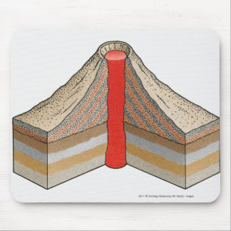 Cross-section of an ash-cinder volcano mouse pad