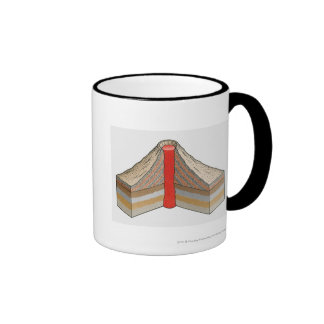 Cross-section of an ash-cinder volcano ringer mug