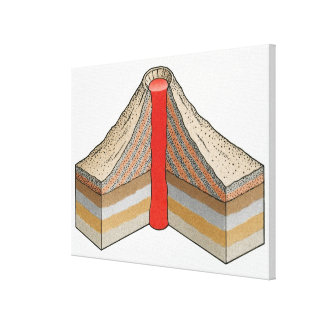 Cross-section of an ash-cinder volcano stretched canvas print