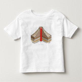 Cross-section of an ash-cinder volcano toddler T-Shirt