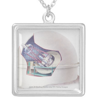 Cross section of telescope inside an observatory silver plated necklace