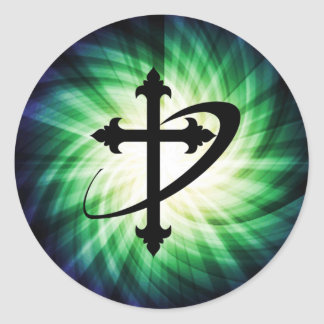 Cross Silhouette; Glowing Classic Round Sticker