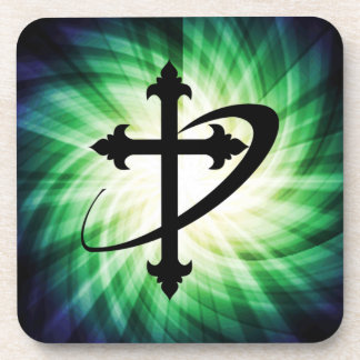 Cross Silhouette; Glowing Coaster