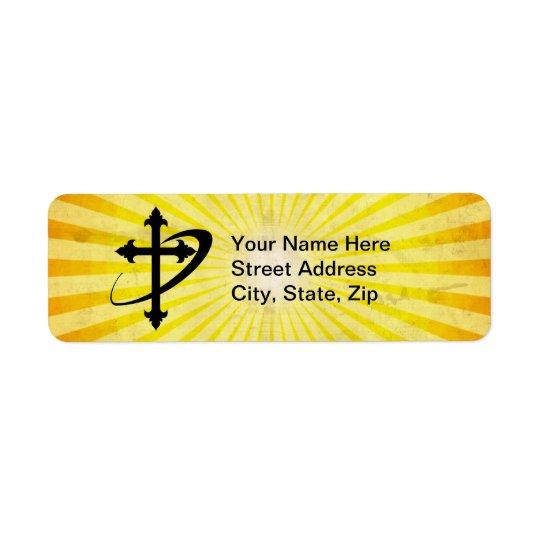 Cross Silhouette; yellow Return Address Label