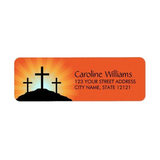 Cross silhouettes against sunrise Christian faith