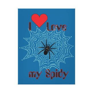 Cross spider in the net canvas gallery wrapped canvas