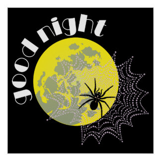 Cross spider in the net with full moon poster