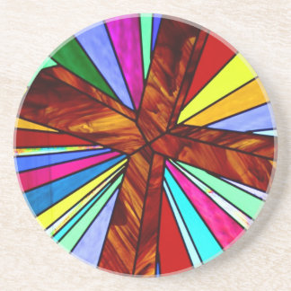 Cross stained glass detail photograph church coaster