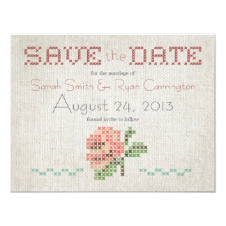 Cross-stitch Antique Wedding Save the Date Card 11 Cm X 14 Cm Invitation Card